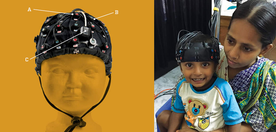 child wearing functional near infrared spectroscopy (NIRS) cap