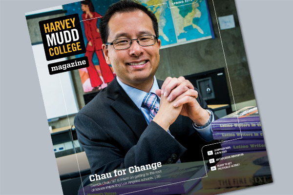 Cover of spring 2018 Harvey Mudd College Magazine.
