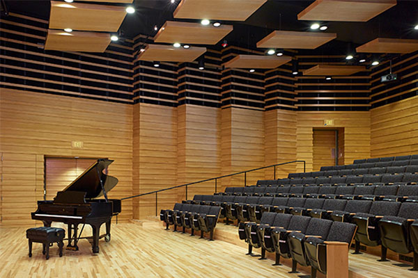 Stage and seating in Drinkward Recital Hall