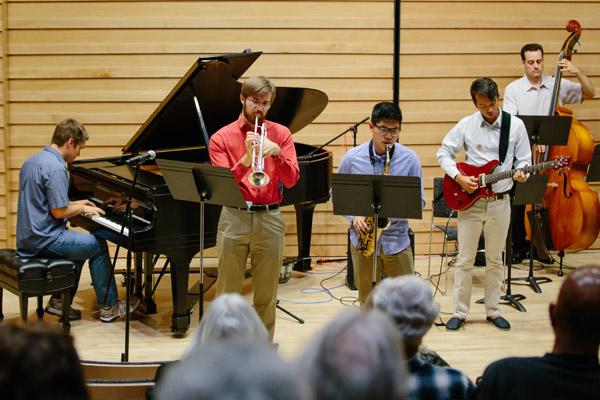 Jazz students perform in Drinkward Recital Hall, Harvey Mudd College