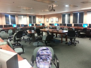 The LAC Computer Lab is accessible for 24 hours a day, 7 days a week for all Mudd students. Each computer has every program necessary for completing almost any Mudd assignment and connect to printer in the corner of the room.