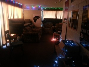 The view of our suite common area, complete with Christmas lights. CHRISTMAS LIGHTS!